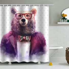 Bear in Glasses and Suit Printed PEVA Waterproof Durable Antibacterial Eco-friendly Shower Curtain