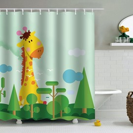 Giraffe Green Plants PEVA Waterproof Durable Antibacterial Eco-friendly Shower Curtain