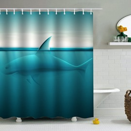 Whale in Green Sea PEVA Waterproof Durable Antibacterial Eco-friendly Shower Curtain