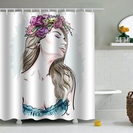 Girl with Floral Hoop Printed PEVA Waterproof Durable Antibacterial Eco-friendly Shower Curtain