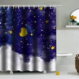 Stars Moon in Blue Sky PEVA Waterproof Durable Antibacterial Eco-friendly Shower Curtain
