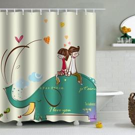 Couple on Elephant Printed PEVA Waterproof Durable Antibacterial Eco-friendly Shower Curtain
