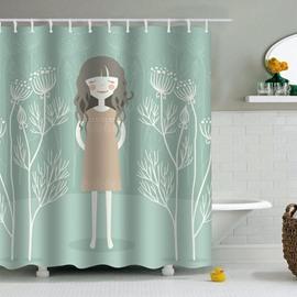 Girl Printed PEVA Waterproof Durable Antibacterial Eco-friendly Green Shower Curtain