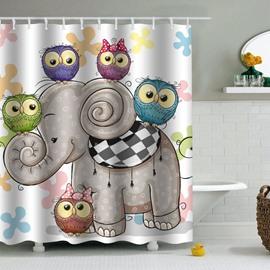 Owl Heads Elephant Printed PEVA Waterproof Durable Antibacterial Eco-friendly Shower Curtain