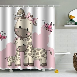 Giraffes Printed PEVA Waterproof Durable Antibacterial Eco-friendly Shower Curtain