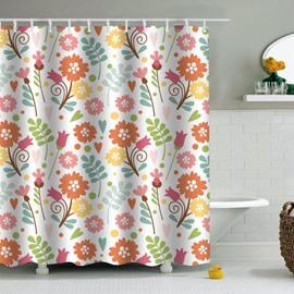 Flowers Printed PEVA Waterproof Durable Antibacterial Eco-friendly Shower Curtain