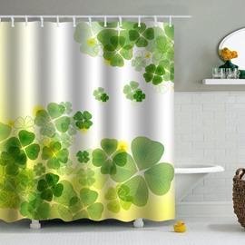 Green Herbs Printed PEVA Waterproof Durable Antibacterial Eco-friendly Shower Curtain
