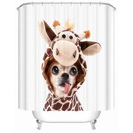 Cute Dog Pattern Mildew Resistant Waterproof Bathroom Shower Curtain