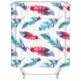 Colorful Feather Pattern Polyester Material Waterproof Shower Curtain