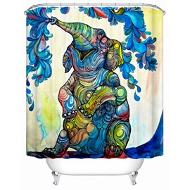 Colorful Elephant Pattern Polyester Material Bathroom Shower Curtain