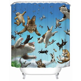 Flying Cats Pattern Waterproof Polyester Material Shower Curtain