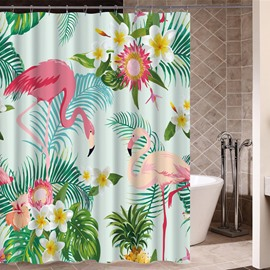 Flamingo&Plants Pattern Mildew Resistant Waterproof Bathroom Shower Curtain