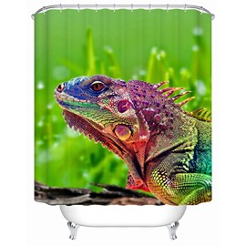 Chameleon Pattern Polyester Material Mold Resistant Bathroom Shower Curtain