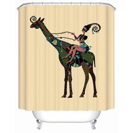 Deer Pattern Waterproof Polyester Material Bathroom Shower Curtain