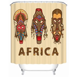 Africa Face Pattern Mildew Resistant Polyester Material Bathroom Shower Curtain