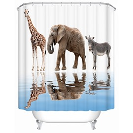 Animals Pattern Polyester Material Waterproof Shower Curtain