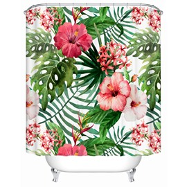 Petunia Pattern Waterproof Machine Washable Polyester Material Shower Curtain