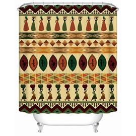 Geometric Pattern Polyester Material Waterproof Mildew Resistant Shower Curtain