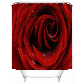 Polyester Material Rose Pattern Mold and Mildew Resistant Shower Curtain