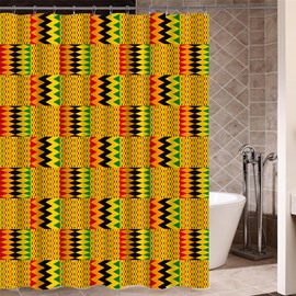 Polyester Material Geometric Pattern Mold Resistant Shower Curtain