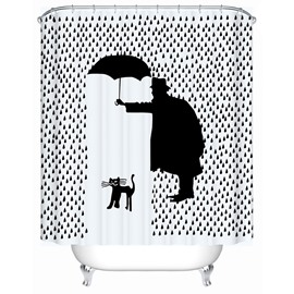 Polyester Material Creative Pattern Mildew Resistant Shower Curtain