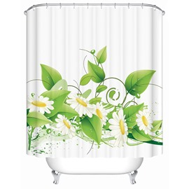 White Flowers&Green Leaves Pattern Polyester Material Shower Curtain