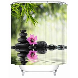 Pink Flower&Water Pattern Polyester Material Waterproof Shower Curtain