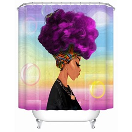 Mildew Resistant Purple Hair Girl Pattern Waterproof Bathroom Shower Curtain
