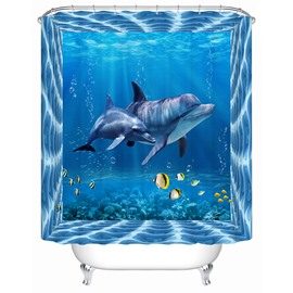 Polyester Material Dolphins Pattern Mildew Resistant Shower Curtain