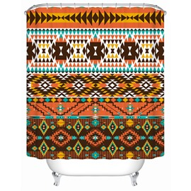 Moist Resistant Geometric Pattern Polyester Material Shower Curtain
