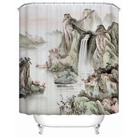 Traditional Chinese Painting Pattern Moist Resistant Shower Curtain