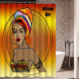 Mildew Resistant Girl Pattern Waterproof Bathroom Shower Curtain