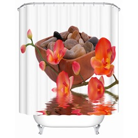 Mildew Resistant Red Flowers Pattern Polyester Material Shower Curtain