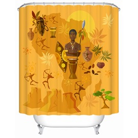 African Culture Moist Resistant Polyester Material Bathroom Shower Curtain