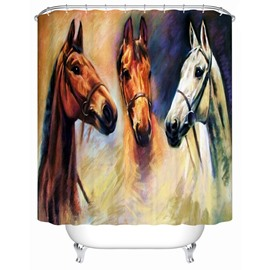 Three Horses Pattern Polyester Material Mildew Resistant Bathroom Shower Curtain