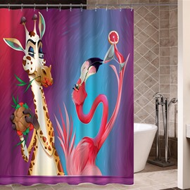Giraffe&Flamingo Pattern Mildew Resistant Waterproof Shower Curtain