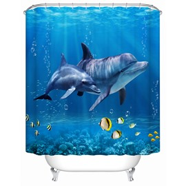 Dolphins Pattern Polyester Material Waterproof Mildew Resistant Shower Curtain