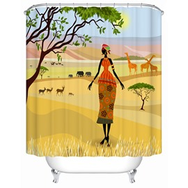 Mildew Resistant Polyester Material Waterproof Bathroom Shower Curtain