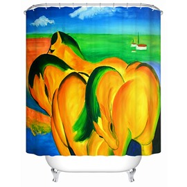Yellow Horses Mildew Resistant Polyester Material Waterproof Shower Curtain