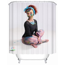 Character Pattern Moist Resistant Waterproof Shower Curtain