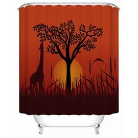 Giraffe&Sunset Pattern Polyester Material Waterproof Mildew Resistant Shower Curtain