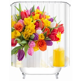 Flowers Pattern Eco-friendly Material Waterproof Mildew Resistant Shower Curtain