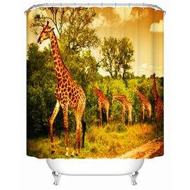 Giraffe Pattern Mildew Resistant Waterproof Anti-Bacterial Shower Curtain