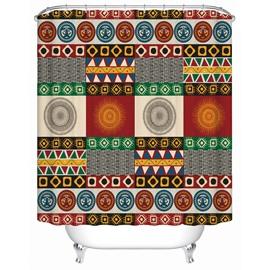 Geometric Pattern Mildew Resistant Waterproof Anti-Bacterial Shower Curtain