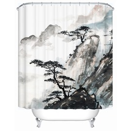 Traditional Chinese Painting Pattern Eco-friendly Material Anti-Bacterial Shower Curtain