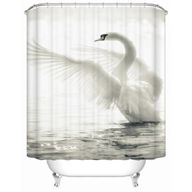 Swan Pattern Polyester Material Mildew Resistant Waterproof Shower Curtain
