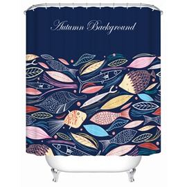 Creative Fish Pattern Polyester Material Mildew Resistant Shower Curtain