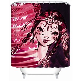 Unique Girl Pattern Mildew Resistant Waterproof Polyester Material Shower Curtain