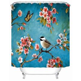 Bird&Flower Pattern Polyester Material Mildew Resistant Bathroom Shower Curtain