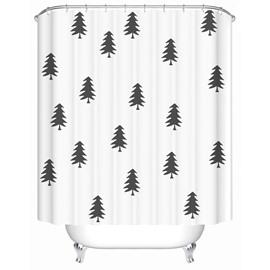 Trees Pattern Mildew Resistant Waterproof Polyester Material Shower Curtain